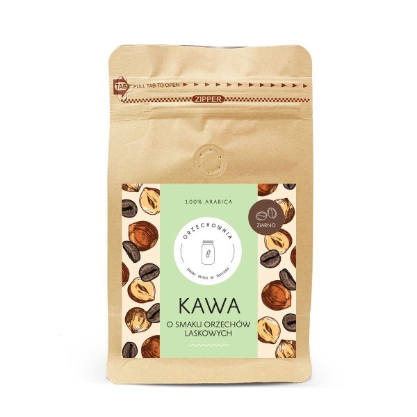 Kawa o smaku orzechów laskowych ziarnista