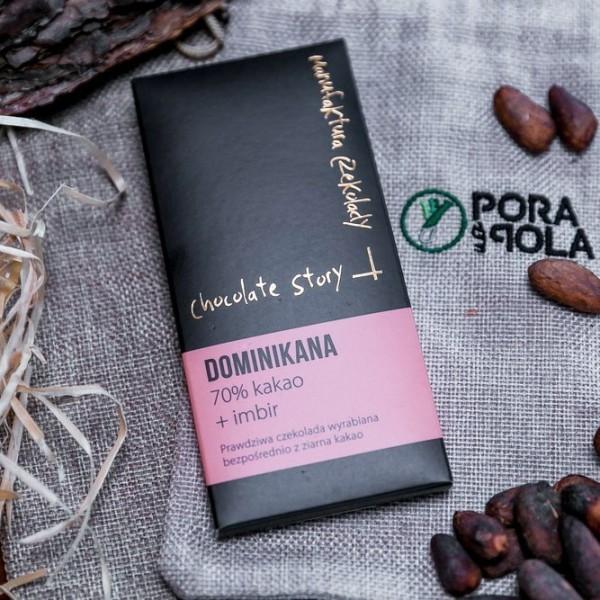 Czekolada 70% kakao z ziarna z Dominikany z imbirem