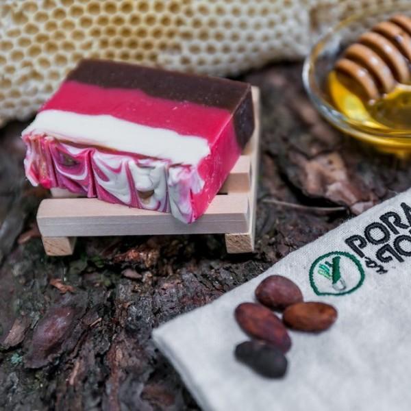 Mydło naturalne kakaowe z miodem malinowym i olejem ryżowym