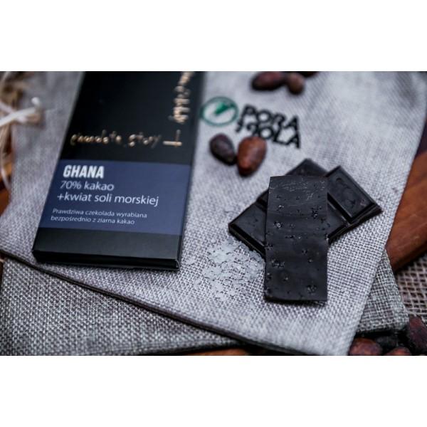 Czekolada 70% kakao z ziarna z Ghany z kwiatem soli morskiej